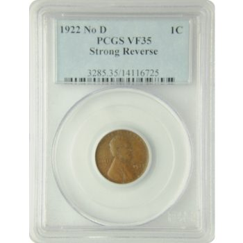 1922 N0 D Lincoln Penny PCGS VF-35 Strong Reverse