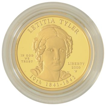 Letita Tyler Proof First Spouse 1/2 ozt Gold Obverse