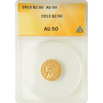 1913 $2.5 Gold Indian ANACS AU-50