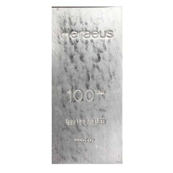 Heraeus 100oz .999 Silver Bar
