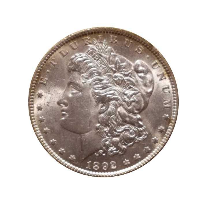 1892 Morgan Silver Dollar Bu Jefferson Coin