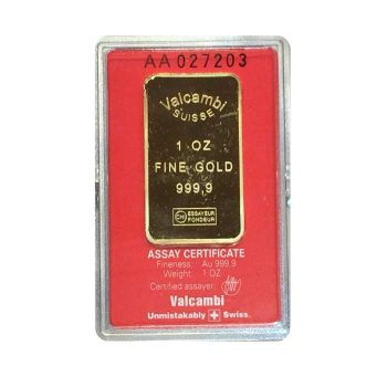 1 oz Gold Valcambi Suisse Bar