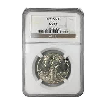 1935-S Walking Liberty Half Dollar NGC MS64