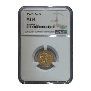 1926 Gold Indian $2.5 NGC MS62