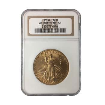 1908 NM $20 Gold St. Gaudens NGC MS 66