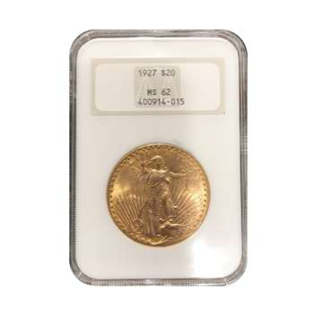 1927 $20 Gold St. Gaudens NGC MS62