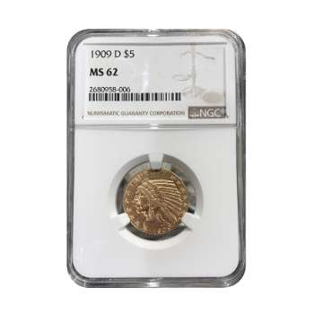 1909-D $5 Gold Indian NGC MS62