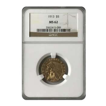 1913 $5 Gold Indian NGC MS62