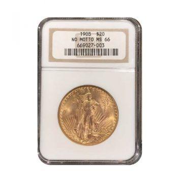 1908 nm $20 St. Gaudens NGC MS-66
