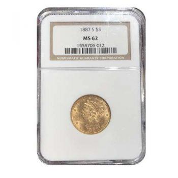 1887-S $5 Liberty NGC MS62