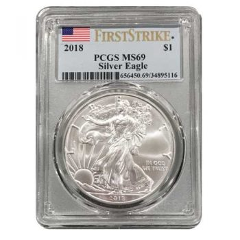 2018 Silver Eagle PCGS MS69 First Strike Flag Label