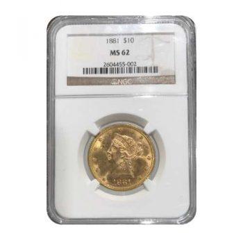 1881 $10 Liberty Gold Eagle NGC MS62