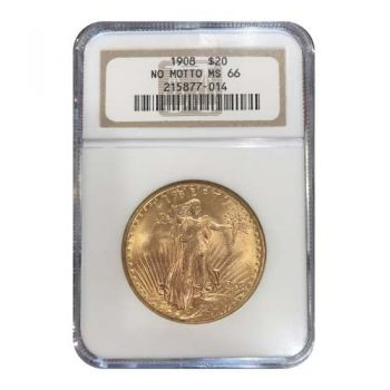 1908 NM $20 Gold St Gaudens NGC MS66