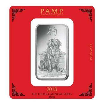 100 Gram PAMP Suisse Lunar Dog Silver Bar