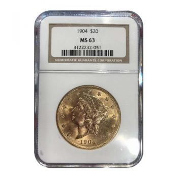 1904 $20 Gold Liberty NGC MS63