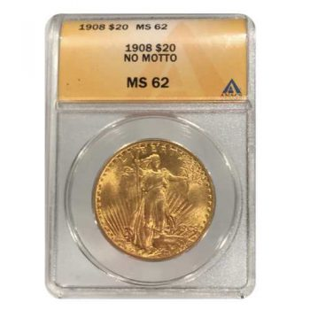 1908 NM $20 Gold St Gaudens ANACS MS62