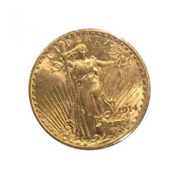 1914-S $20 Gold St Gaudens AU