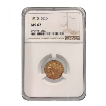 1915 $2.5 Gold Indian NGC MS62