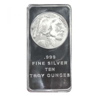 10 oz .999 Fine Silver Buffalo Bar