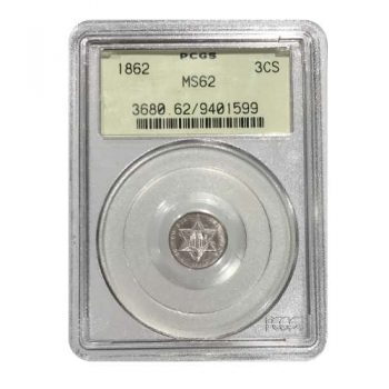 1862 Three Cent Silver PCGS MS62