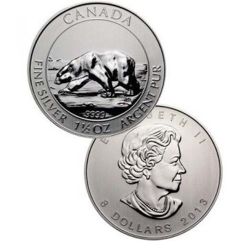2013 1.5 oz Canadian Silver Polar Bear $8 Coin