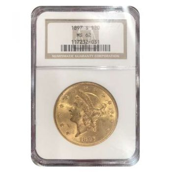 1897-S $20 Gold Liberty NGC MS62