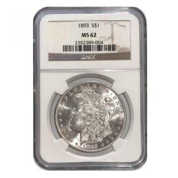 1893 Morgan Silver Dollar NGC MS62