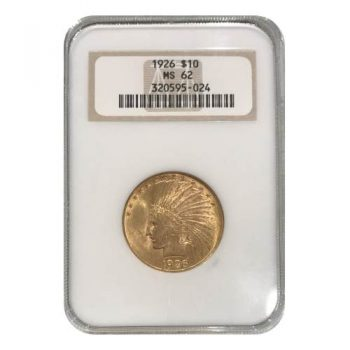 1926 $10 Gold Indian NGC MS62