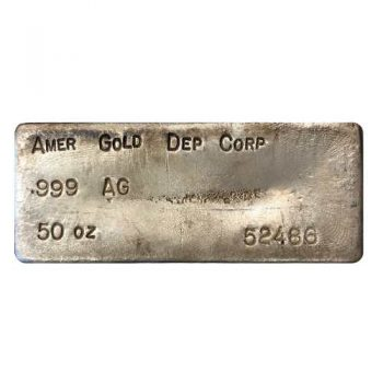50 oz .999 Silver Bar AMER GOLD DEP CORP