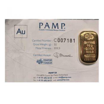50 gram .999 Gold Pamp Bar