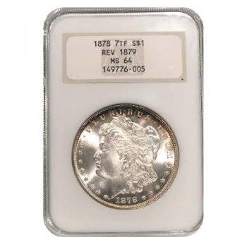 1878 Morgan Silver Dollar NGC MS64 Rev 79