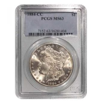 1884-CC Morgan Silver-Dollar PCGS MS63