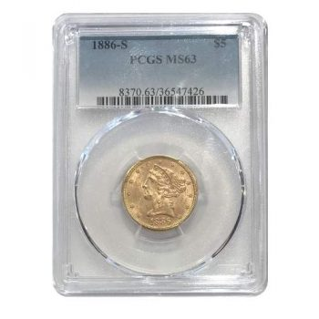 1886-S $5 Gold Liberty PCGS MS63