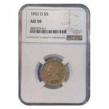 1852-D $5 Gold Liberty NGC AU50