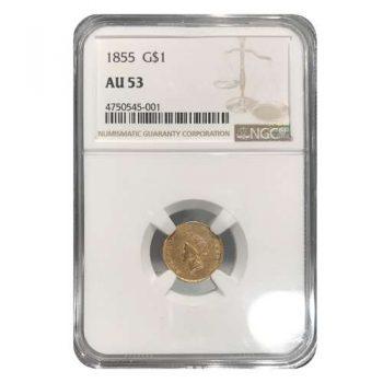 1855 Type 2 Gold Dollar NGC AU53