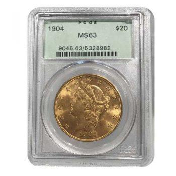 1904 $20 Gold Liberty PCGS MS63