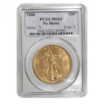 1908 No Motto $20 Gold St Gaudens PCGS MS63