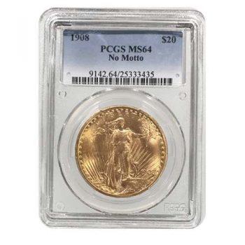 1908 No Motto $20 Gold St Gaudens PCGS MS64