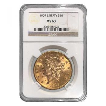 1907 $20 Gold Liberty NGC MS63