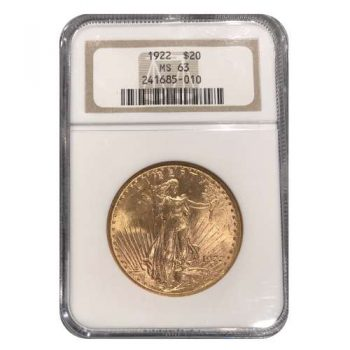 1922 $20 Gold St Gaudens NGC MS63
