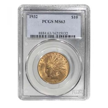 1932 $10 Gold Indian PCGS MS63