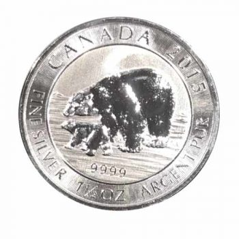 2015 1.5 oz Canadian Silver Polar Bear and Cub