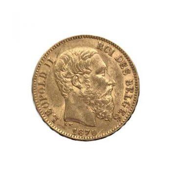 1870 Belgium Gold 20 Francs Leopold II