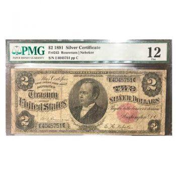 1891 $2 Silver Certificate PMG F12