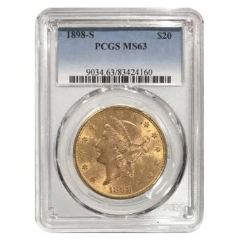 1898-S $20 Gold Liberty PCGS MS63
