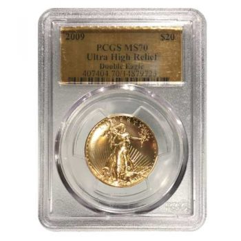 2009 Ultra High Relief Gold Double Eagle Coin PCGS MS70