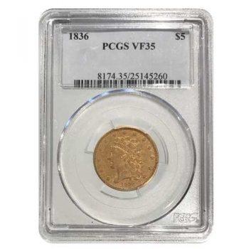 1836 $5 Gold Classic Head NGC VF35