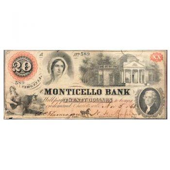 1860 $20 Monticello Bank Charlottesville, VA Note