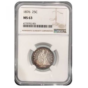 1876 Liberty Seated Quarter NGC MS63