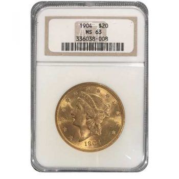 1904 $20 Gold Liberty NGC MS63